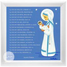 Tableau religieux Prière Sainte Teresa bleu (15 x 15 cm)