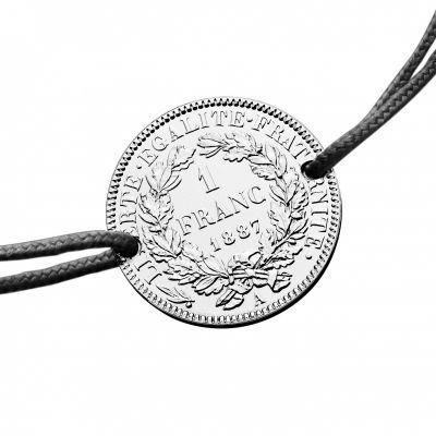 Bracelet cordon noir médaille 1 franc 1887 23 mm (argent 950°)  par Monnaie de Paris