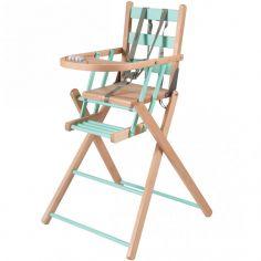 Chaise haute extra pliante en bois Sarah hybride vert d'eau