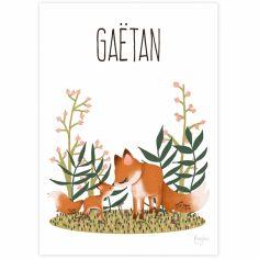 Carte A5 Maman renard et son petit (personnalisable)