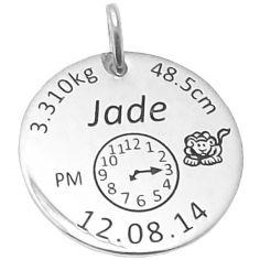 Médaille de naissance ronde (argent 925° rhodié)
