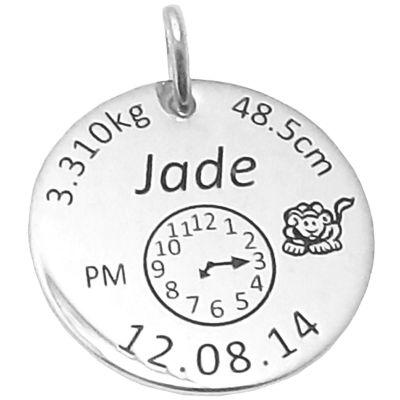 Médaille de naissance ronde (argent 925° rhodié)  par Alomi