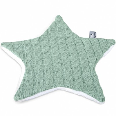 Doudou plat étoile Cable Uni vert menthe (30 x 30 cm) Baby's Only