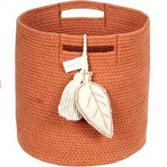 Panier de rangement Leaf terracotta en coton (30 x 30 cm)