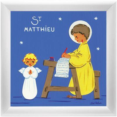 Tableau religieux St Matthieu Saint Patron personnalisable (15 x 15 cm)  par Atelier de Rosbo