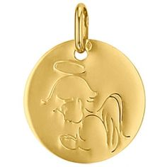 Médaille ronde Ange 16 mm (or jaune 750°)