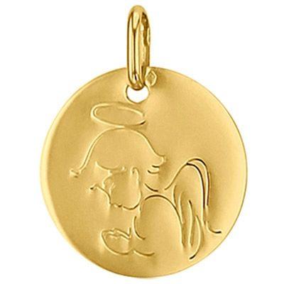 Médaille ronde Ange 16 mm (or jaune 750°)   par Premiers Bijoux