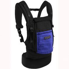 Porte-bébé PhysioCarrier en coton noir et bleu iris