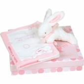 Coffret protège carnet de santé et lapin Mon tout petit lapin rose - Doudou et Compagnie