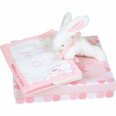 Coffret protège carnet de santé et lapin Mon tout petit lapin rose Doudou et Compagnie
