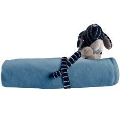 Ma première couverture Jack veloudoux Aston & Jack chien bleue (50 x 50 cm)