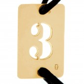 Bracelet cordon papa Lucky number rectangle en 30 mm (or jaune 750°) - Loupidou