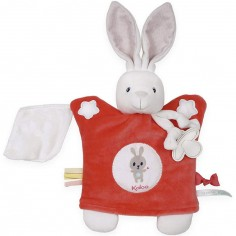 Doudou attache sucette marionnette Imagine Lapinou rouge
