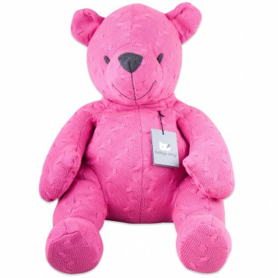 Peluche ourson Cable Uni fuchsia (55 cm) Baby's Only