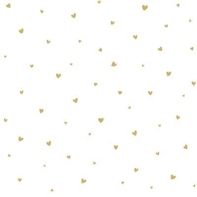 Papier peint intissé Lovely hearts dores (10 m) Lilipinso