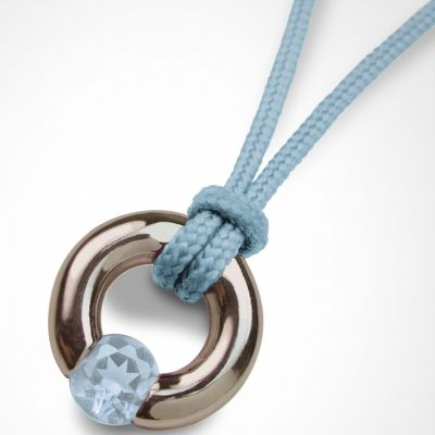 Collier cordon 'Newborn' Pierre précieuse ou fine (or blanc 750°)  par Mikado
