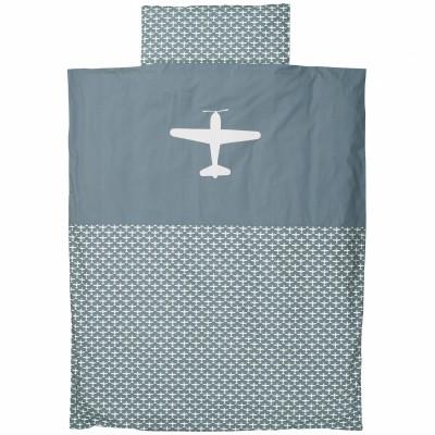 Housse de couette et taie d 39 oreiller airplane gris bleu for Housse de couette 120 x 150