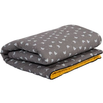 Couverture grise Les Moustaches (90 x 70 cm)  par Moulin Roty