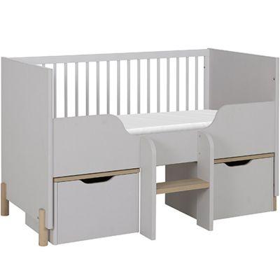 Lit bébé évolutif et caissons mobiles gris clair sablé Eliott (70 x 140 cm)  par Galipette