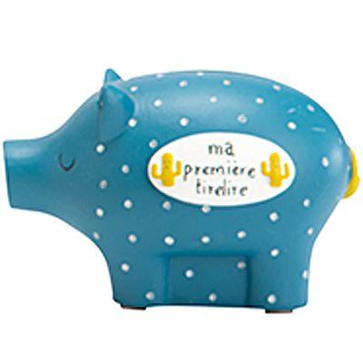 Tirelire cochon Herley l'aventurier bleu (8 x 12 cm)  par Amadeus Les Petits
