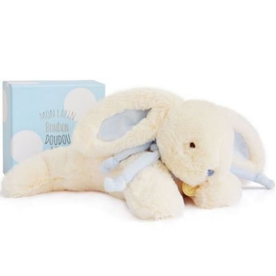 Coffret peluche lapin bonbon bleu (30 cm)  par Doudou et Compagnie