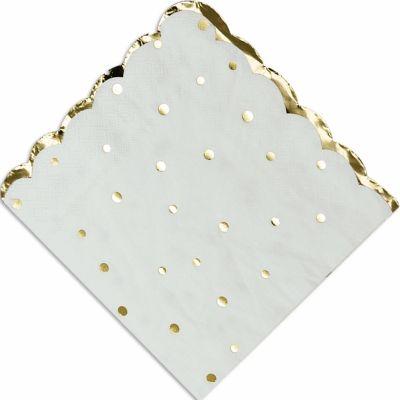 Serviettes en papier Doré pois et festons (16 pièces)