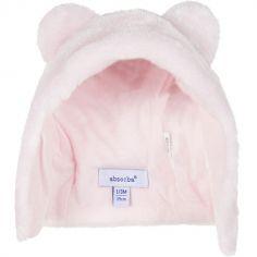 Bonnet fourrure polaire couleur rose clair (tour de tête : 39 cm)