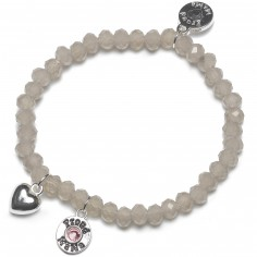 Bracelet Charm coeur perles taupe clair charm rose