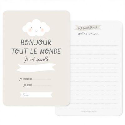 Carte naissance Bonjour gris perle (A6)