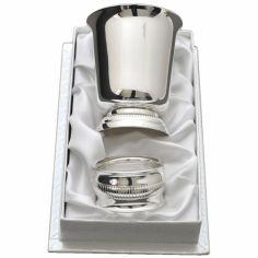 Coffret timbale et rond de serviette Godron personnalisable (métal argenté)