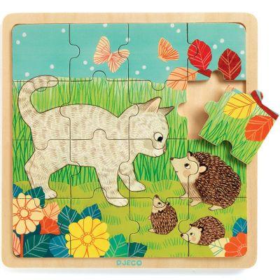 Puzzle Garden chat et hérisson (16 pièces)  par Djeco
