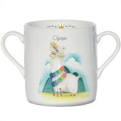 Tasse en porcelaine Lama blanc (personnalisable)