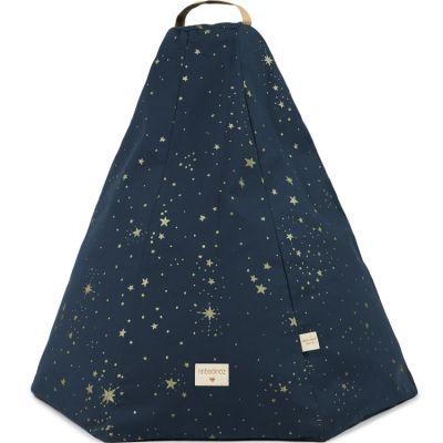 Pouf Marrakech Gold stella Night blue (54 x 62 cm)  par Nobodinoz
