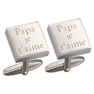 Boutons de manchettes Gaspard message (rhodium argenté)  par Petits trésors