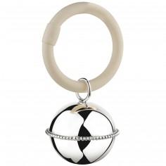 Hochet anneau Grelot contour perles (argent 925°)