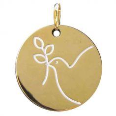 Médaille Espérance colombe rameau (plaqué or jaune)