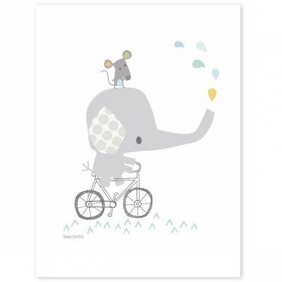 Affiche éléphant Smile, it's raining by Dawn Machell (30 x 40 cm)  par Lilipinso
