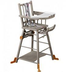 Chaise haute transformable Marcel laquée gris clair
