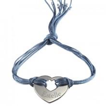 Bracelet cordon de soie Rainbow coeur (argent 925°)  par Petits trésors