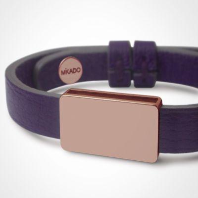 Bracelet cuir Hip-Hop Violet (or rose 750° et cuir)  par Mikado