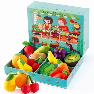 Jeu de marchande Les fruits et légumes de Louis et Clémentine (12 pièces)  par Djeco