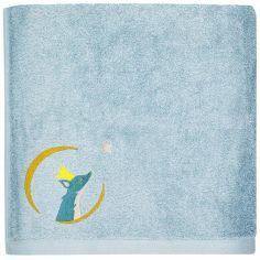 Serviette de bain bleue Renard personnalisable (50 x 100 cm)
