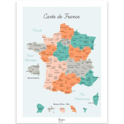 Affiche A3 Carte de France  par Kanzilue