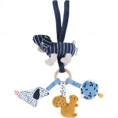Trousseau d'activité à suspendre en veloudoux Aston & Jack chien bleu