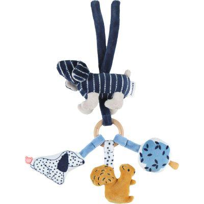 Trousseau d'activité à suspendre en veloudoux Aston & Jack chien bleu  par Noukie's