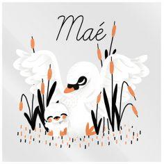 Plaque de porte carrée Maman cygne (personnalisable)