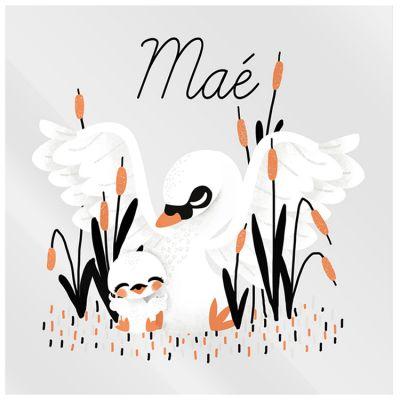 Plaque de porte carrée Maman cygne (personnalisable)  par Kanzilue