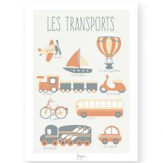 Affiche éducative A4 Les Transports orange