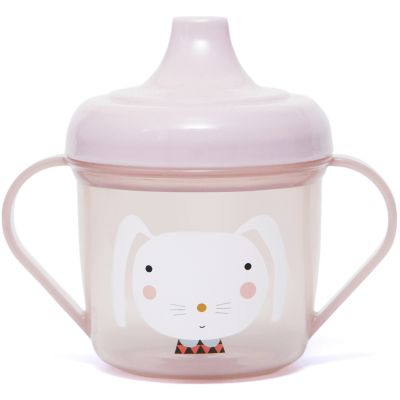 Tasse d'apprentissage en plastique Lapin rose (190 ml) Petit Monkey