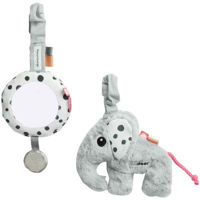 Miroir et jouet d'éveil à suspendre Elphee gris  par Done by Deer